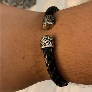 TOUS Cuff Black Leather Bracelet